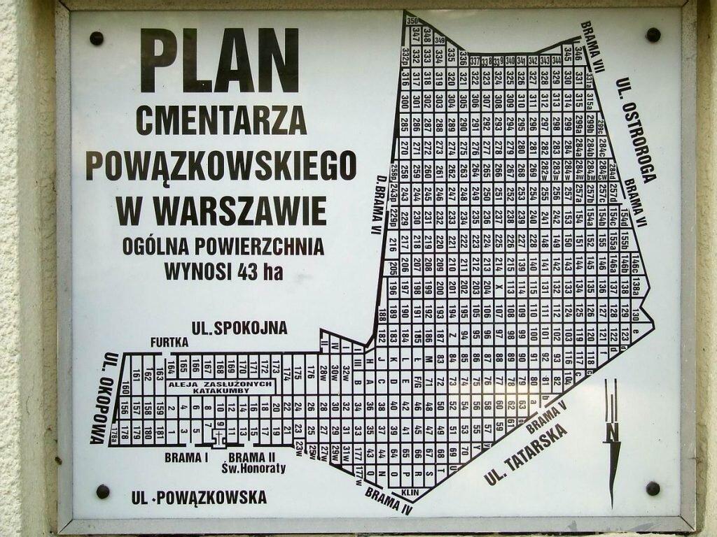 Plan Cmentarza Stare Powązki